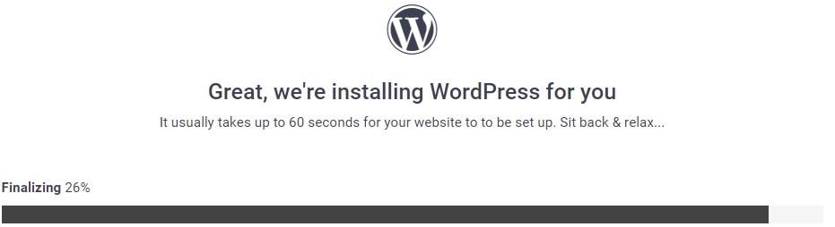 Wordpress Installation Progress