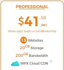 WPX Hosting Professional Plan